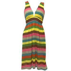 Double Zero Deep V Striped Knit Dress Twist Strap